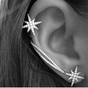 Silver Rhinestone Cuff Earring Set Wrap